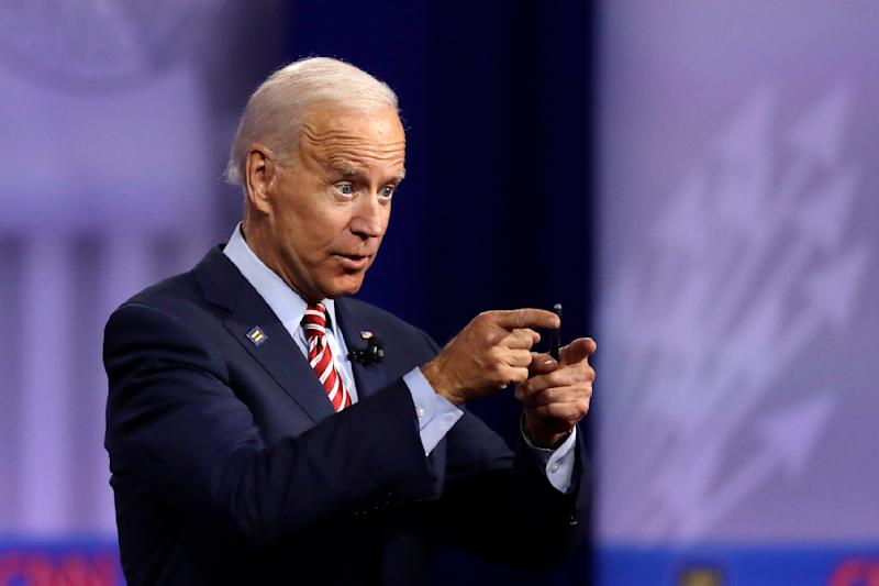 In this Oct. 10, 2019, photo, Democratic presidential candidate former Vice President Joe Biden speaks during the Power of our Pride Town Hall in Los Angeles.  (AP Photo/Marcio Jose Sanchez)
