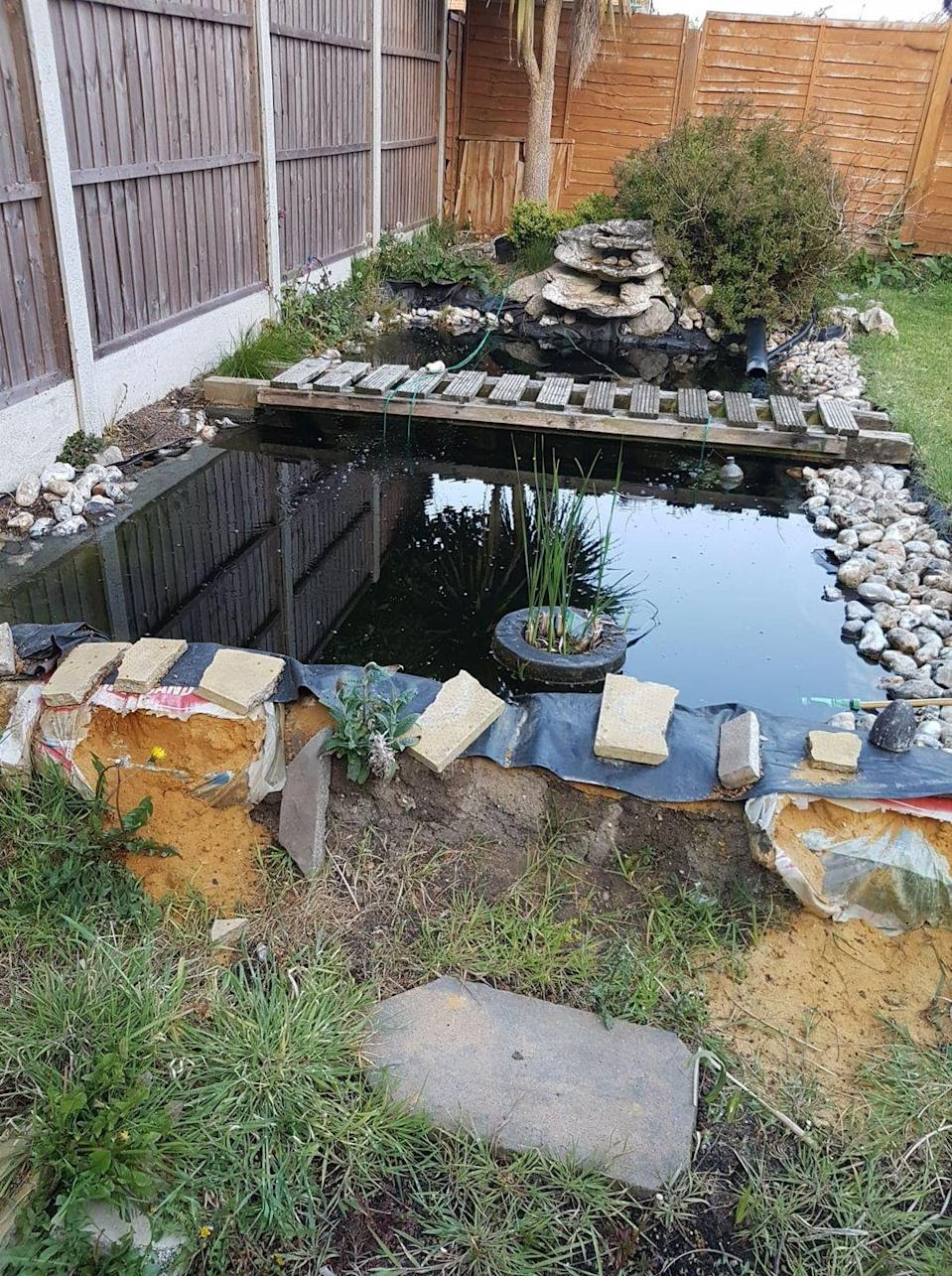 """<p>Ornamental garden ponds are highly sought after, but this failed attempt from Lena Hartl is more like a pool of water outside. Calling the project a 'total failure', it took Lena over two years to design. </p><p><strong>READ MORE</strong>: <a href=""""https://www.housebeautiful.com/uk/garden/designs/a36461898/healing-garden/"""" rel=""""nofollow noopener"""" target=""""_blank"""" data-ylk=""""slk:How to create your own healing garden"""" class=""""link rapid-noclick-resp"""">How to create your own healing garden</a> </p>"""