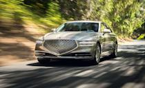 """<p>Like the entry-level luxury G70, the <a href=""""https://www.caranddriver.com/genesis/g90"""" rel=""""nofollow noopener"""" target=""""_blank"""" data-ylk=""""slk:Genesis G90"""" class=""""link rapid-noclick-resp"""">Genesis G90</a> is plush option aiming at a spot alongside <a href=""""https://www.caranddriver.com/mercedes-benz/s-class"""" rel=""""nofollow noopener"""" target=""""_blank"""" data-ylk=""""slk:Mercedes-Benz S-Class"""" class=""""link rapid-noclick-resp"""">Mercedes-Benz S-Class</a>, <a href=""""https://www.caranddriver.com/audi/a8"""" rel=""""nofollow noopener"""" target=""""_blank"""" data-ylk=""""slk:Audi A8"""" class=""""link rapid-noclick-resp"""">Audi A8</a>, and <a href=""""https://www.caranddriver.com/bmw/7-series"""" rel=""""nofollow noopener"""" target=""""_blank"""" data-ylk=""""slk:BMW 7-series"""" class=""""link rapid-noclick-resp"""">BMW 7-series</a>. All of which are absent from this year's list. The <a href=""""https://www.iihs.org/ratings/vehicle/genesis/g90-4-door-sedan/2021"""" rel=""""nofollow noopener"""" target=""""_blank"""" data-ylk=""""slk:G90 received top marks"""" class=""""link rapid-noclick-resp"""">G90 received top marks</a> for crashworthiness, crash avoidance and mitigation. Like the G70, it received an Acceptable rating for its somewhat difficult to use child-seat anchors. During front-crash testing, front- and side-curtain airbags kept the driver's head away from the steering wheel, glass, and other hard structures that would cause injury. The G90's standard LED projector low- and high-beam headlights ranked Good for all four curved roadway visibility tests, despite the model not having curve-adaptive tech found on models like the Mazda 6 and S-Class. The G90 comes with blind spot detection, collision warning, and automated emergency braking, adaptive cruise control, and lane-departure warning and lane-keeping assist. </p><p><a class=""""link rapid-noclick-resp"""" href=""""https://www.caranddriver.com/reviews/a31971521/2020-genesis-g90-v-6-rwd-by-the-numbers/"""" rel=""""nofollow noopener"""" target=""""_blank"""" data-ylk=""""slk:G90 TESTED"""">G90 TESTED</a> 