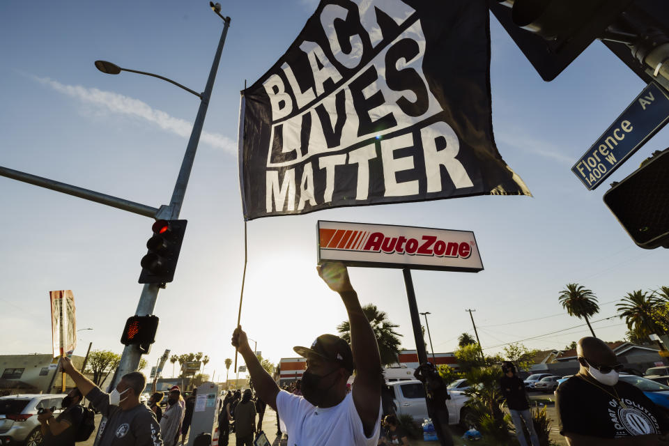 A celebration for the guilty verdicts in the Derek Chauvin murder case of George Floyd held in South Los Angeles. Source: SIPA USA via AAP
