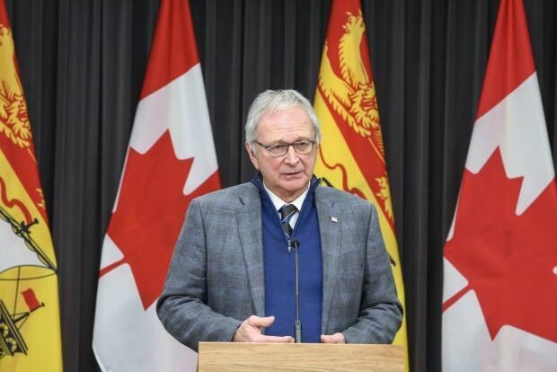 On Thursday, Premier Blaine Higgs told a national audience he was confident most New Brunswickers would get a first vaccine dose by the end of June, but he qualified this later when talking to New Brunswick reporters. (Submitted by the New Brunswick government - image credit)