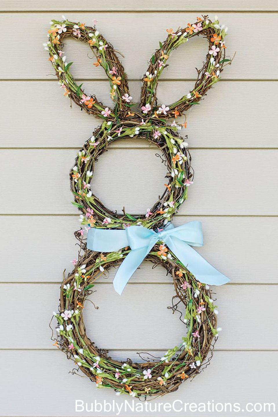 "<p>Why settle for an ordinary store-bought <a href=""https://www.countryliving.com/diy-crafts/g4088/easter-wreath/"" rel=""nofollow noopener"" target=""_blank"" data-ylk=""slk:Easter wreath"" class=""link rapid-noclick-resp"">Easter wreath</a>, when you could craft this adorable, flower-covered bunny? This sweet fixture will be the perfect statement for your front door this holiday.</p><p><strong>Get the tutorial at <a href=""http://sprinklesomefun.com/2013/03/bunny-wreath.html"" rel=""nofollow noopener"" target=""_blank"" data-ylk=""slk:Sprinkle Some Fun"" class=""link rapid-noclick-resp"">Sprinkle Some Fun</a>.</strong></p>"