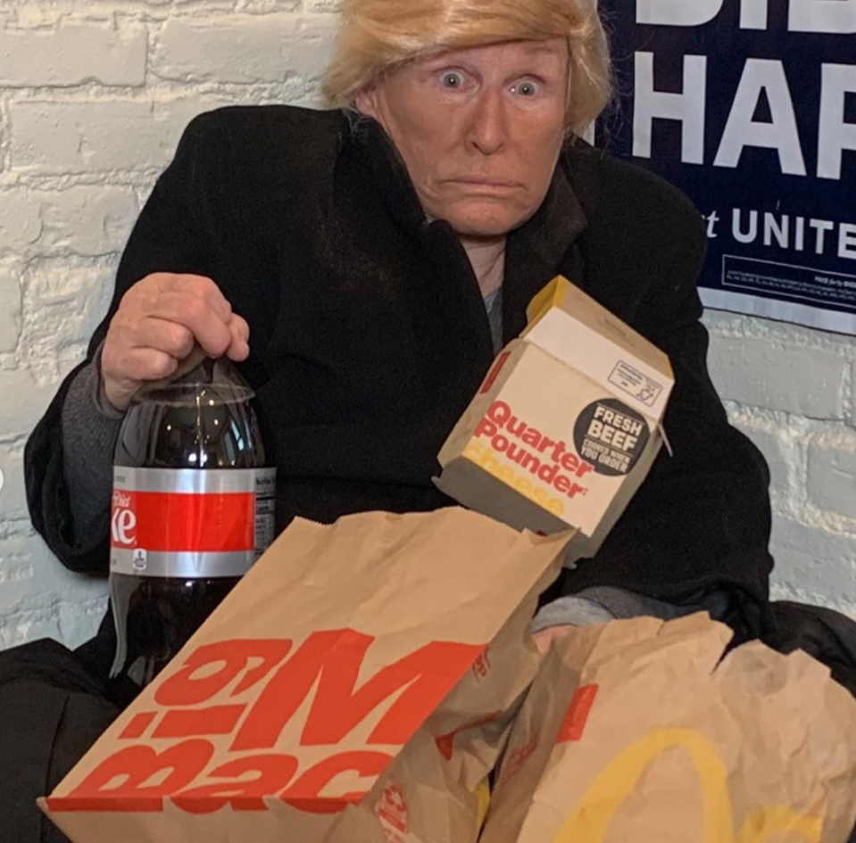 Actress Glenn Close was just one of Hollywood's biggest names that went political this Halloween, dressing as President Trump surrounded by fast food. (Photo: Glenn Close/Instagram)