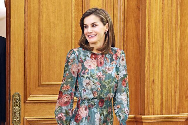 Queen Letizia of Spain wears Zara while attending audiences at Madrid's Zarzuela Palace. (Photo: Getty Images)