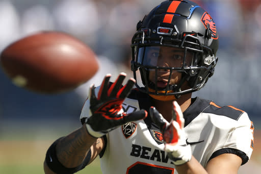 FILE - Oregon State defensive back Jaydon Grant (3) is shown in the second half during an NCAA college football game against Arizona, Saturday, Nov. 2, 2019, in Tucson, Ariz. This summer college athletes have called out coaches and administrators, thrown widespread public support behind causes both social (Black Lives Matter) and political (changing the Mississippi state flag) and demanded to be part of the discussions about whether sports can be played safely during a pandemic. We all know that this isn't a movement for the present, said Oregon State defensive back Jaydon Grant, who one of the leaders of the Pac-12 We Are United group. (AP Photo/Rick Scuteri, File)