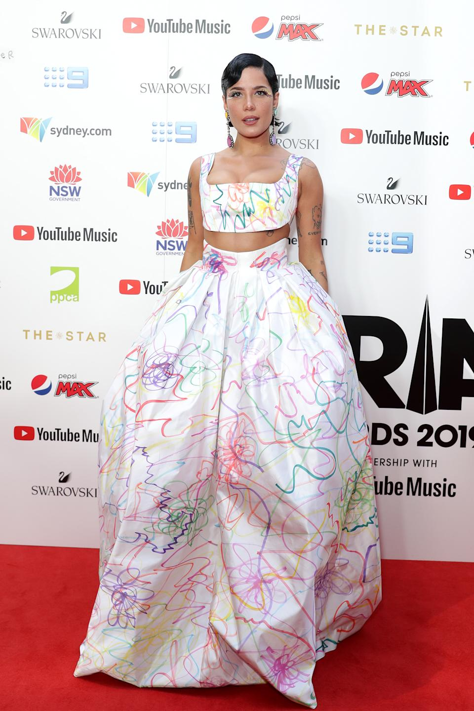 Halsey stuns in a two-piece, coloured in ensemble for the 33rd Annual ARIA Awards 2019 at The Star. Photo: Getty Images
