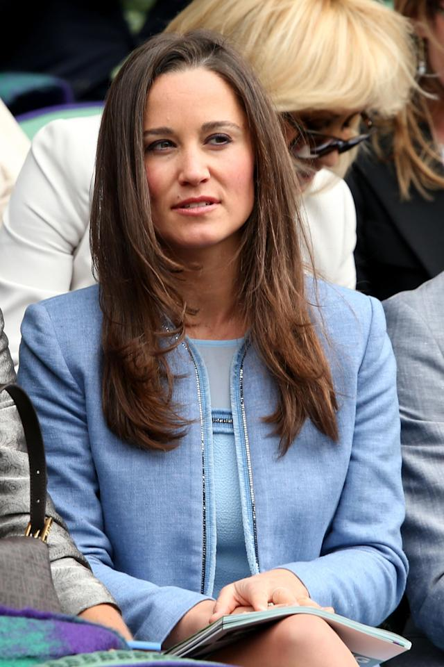 LONDON, ENGLAND - JUNE 24: Pippa Middleton watches the Gentlemen's Singles first round match between Andy Murray of Great Britain and Benjamin Becker of Germany on day one of the Wimbledon Lawn Tennis Championships at the All England Lawn Tennis and Croquet Club on June 24, 2013 in London, England. (Photo by Clive Brunskill/Getty Images)
