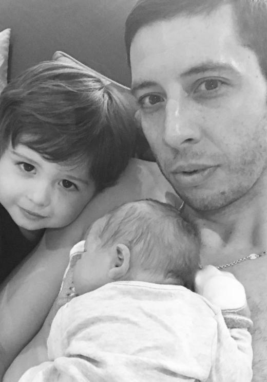 Example also shared a sweet snap with his first son Evander who looked happy to have a new little brother. Source: Instagram
