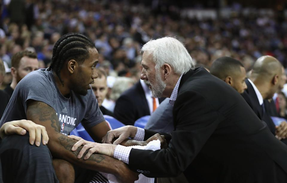 Kawhi Leonard has reportedly changed his mind about attending a USA Basketball camp helmed by Spurs coach Gregg Popovich. (Getty)