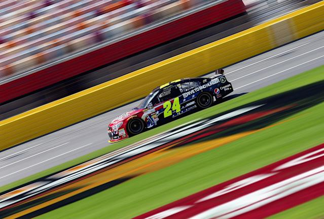 CONCORD, NC - MAY 23: Jeff Gordon drives the #24 Drive To End Hunger Chevrolet during practice for the NASCAR Sprint Cup Series Coca-Cola 600 at Charlotte Motor Speedway on May 23, 2013 in Concord, North Carolina. (Photo by Streeter Lecka/Getty Images)