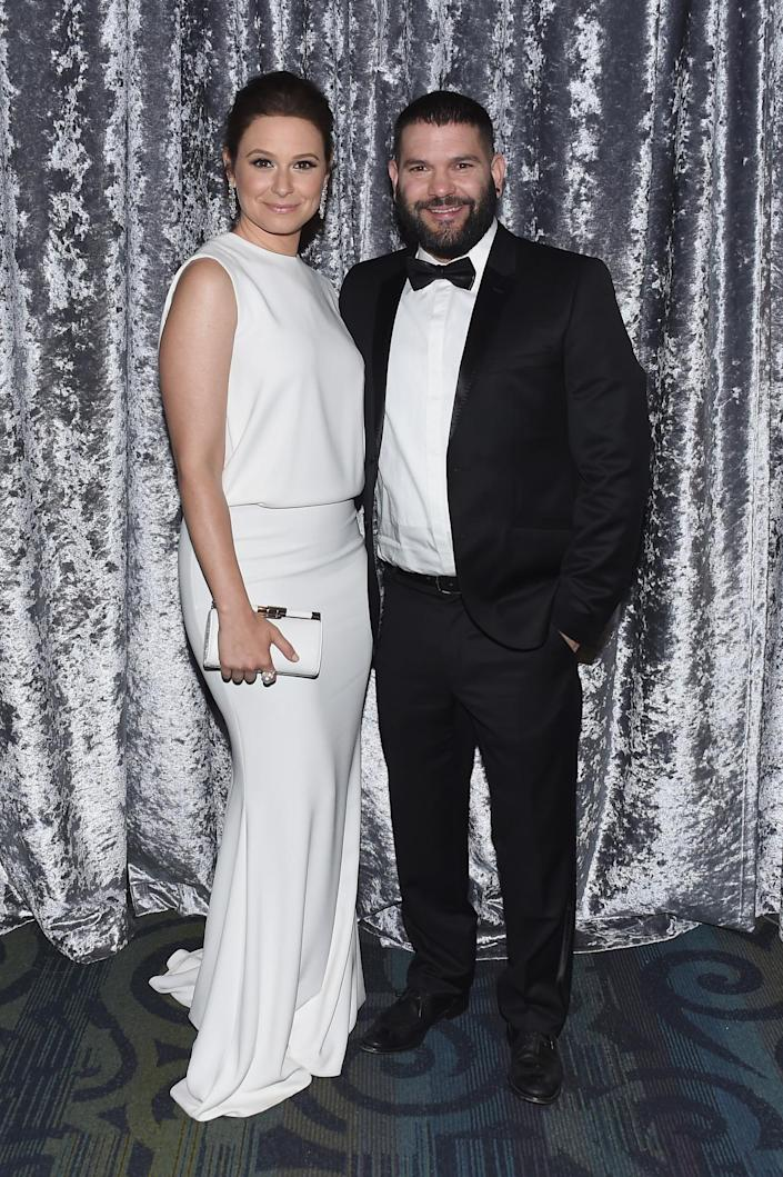 <p>Actors Katie Lowes and Guillermo Díaz attend the Yahoo News/ABC News White House Correspondents' Dinner pre-party at the Washington Hilton, April 30. <i>(Photo: Nicholas Hunt/Getty Images for Yahoo)</i></p>