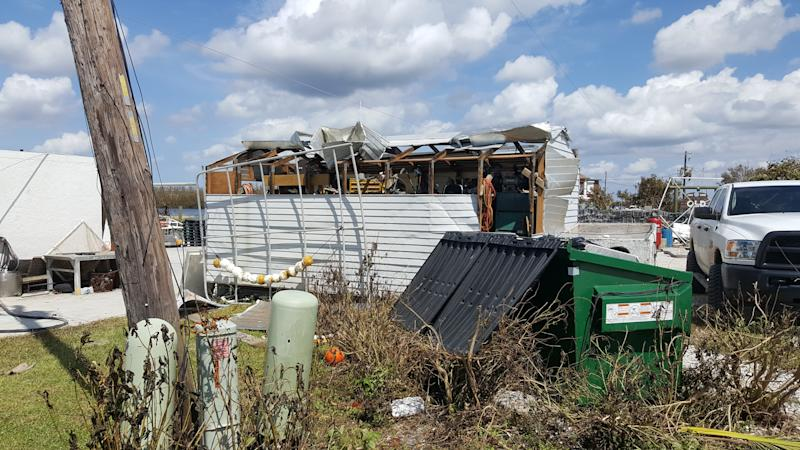 A damaged shed used by Kirk Fish Company. (David Lohr/HuffPost)