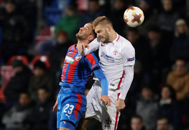 Soccer Football - Europa League - Viktoria Plzen vs Steaua Bucharest - Doosan Arena, Plzen, Czech Republic - November 23, 2017 Viktoria Plzen's Milan Havel in action with Steaua Bucharest's Bogdan Planic REUTERS/David W Cerny