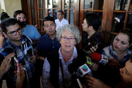 Ana Maria Tello, coordinator of the Special Follow-up Mechanism for Nicaragua (MESENI-CIDH) speaks to journalists during an interview in Managua, Nicaragua December 19, 2018. REUTERS/Oswaldo Rivas