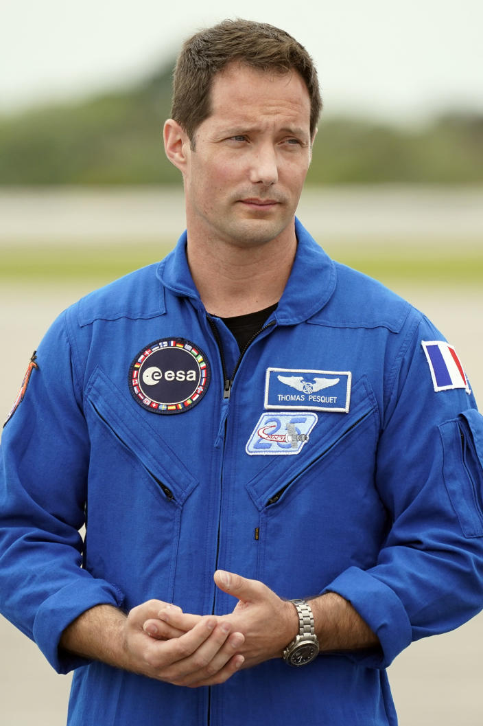 SpaceX Crew 2 member European Space Agency astronaut Thomas Pesquet arrives at the Kennedy Space Center in Cape Canaveral, Fla., Friday, April 16, 2021. The launch to the International Space Station is targeted for April 22. (AP Photo/John Raoux)