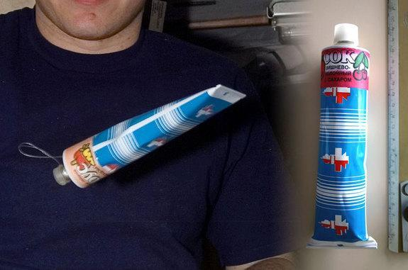 Aboard the International Space Station, Russian cosmonauts use space food tubes to consume soup and drinks.