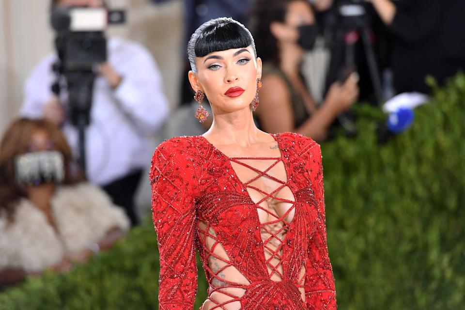 US actress Megan Fox arrives for the 2021 Met Gala at the Metropolitan Museum of Art on September 13, 2021 in New York. - This year's Met Gala has a distinctively youthful imprint, hosted by singer Billie Eilish, actor Timothee Chalamet, poet Amanda Gorman and tennis star Naomi Osaka, none of them older than 25. The 2021 theme is