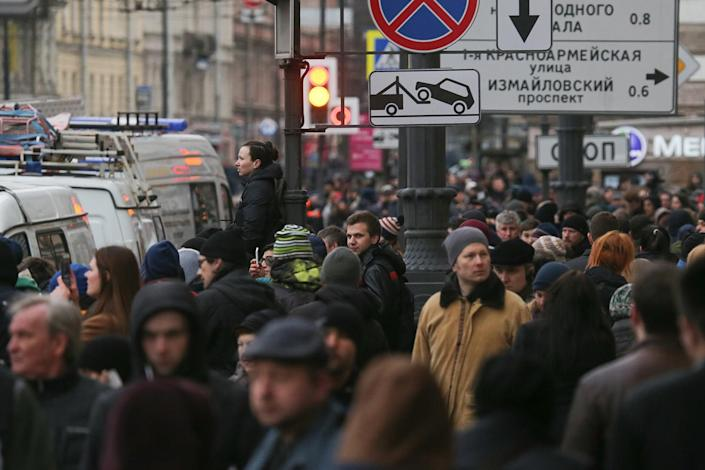 <p>Pedestrians are shown outside the Tekhnologichesky Institut metro station in St Petersburg, Russian, April 3, 2017. (Photo by Alexander DemianchukTASS via Getty Images) </p>