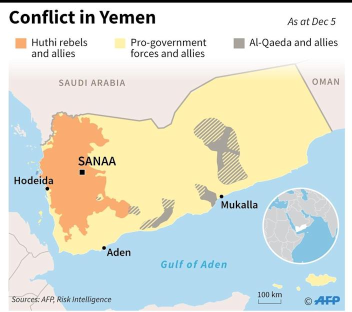 Map showing territorial control in Yemen as of December 5. (AFP Photo/Valentina Breschi)
