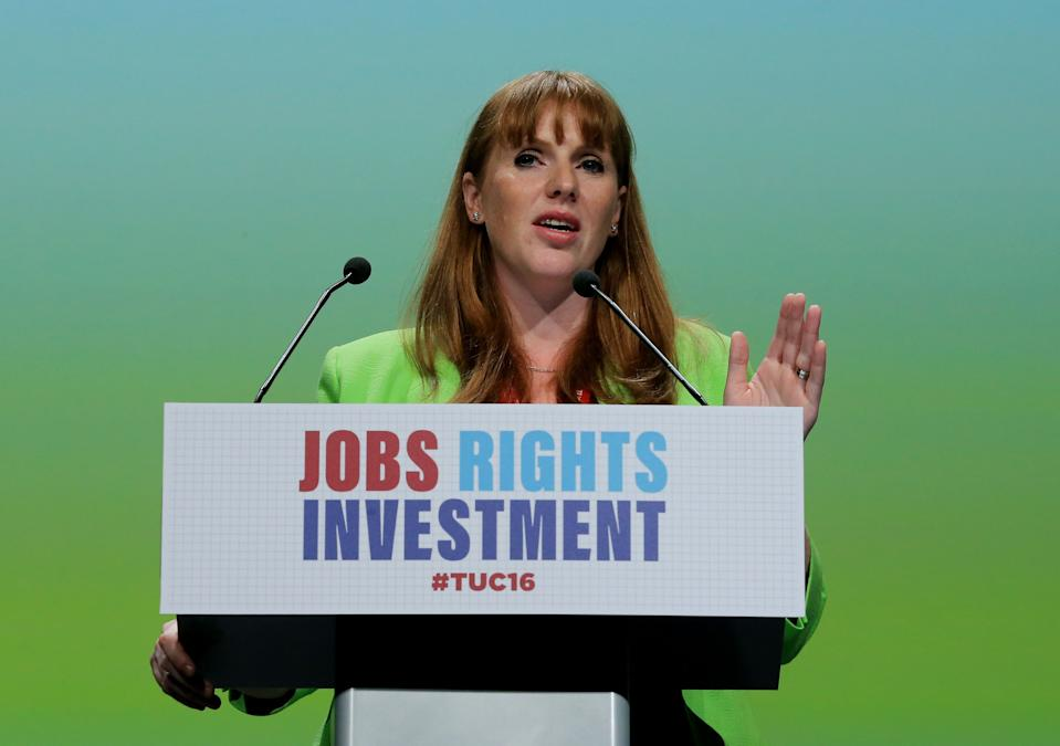 Angela Rayner, Shadow Education Secretary, addresses the TUC Congress at the Brighton Centre in Brighton.