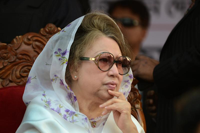 Bangladesh's main opposition leader and Bangladesh Nationalist Party chairperson Khaleda Zia attends a rally in Dhaka on January 20, 2014 (AFP Photo/Munir Uz Zaman)