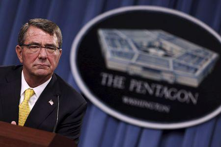 U.S. Defense Secretary Carter listens to questions during a news conference at the Pentagon in Arlington, Virginia