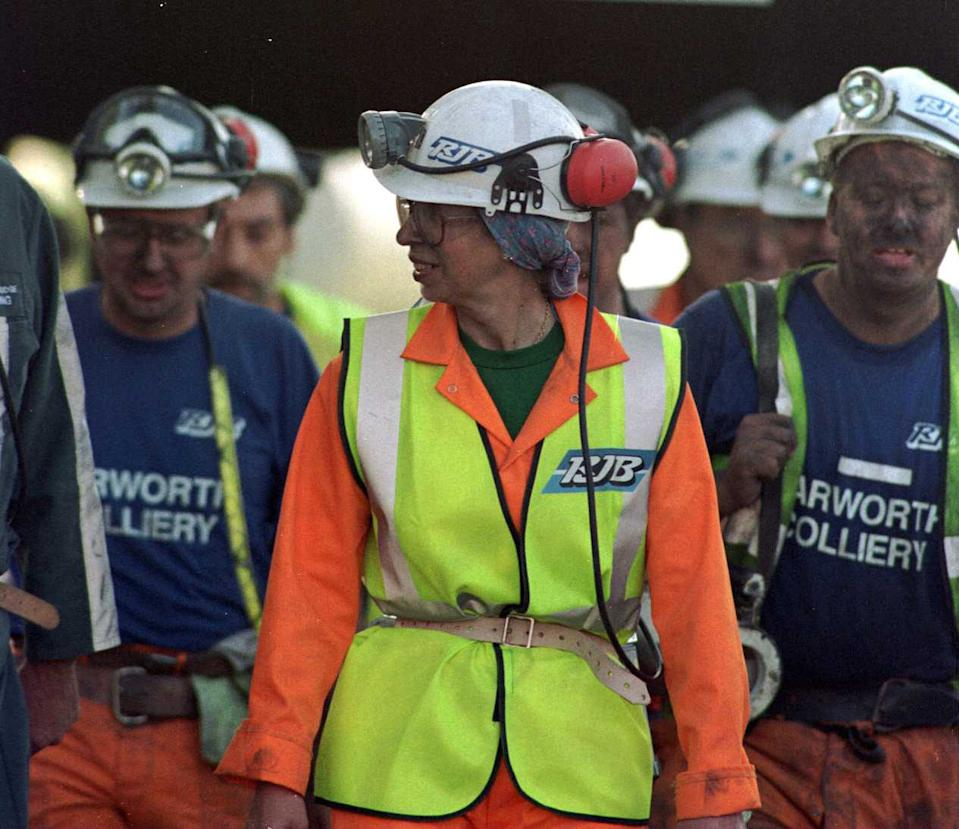 In 1999, the Princess Royal showed a trip to a mine is no excuse for being unfashionable, as she belted her high-vis at the waist. (Getty Images)