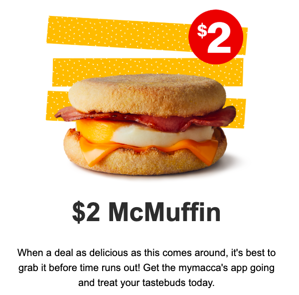$2 McMuffin on the MyMaccas app.