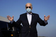 Democratic candidate former Vice President Joe Biden speaks to reporters before boarding his campaign plane at New Castle Airport in New Castle, Del., Thursday, Oct. 22, 2020, en route to Nashville, Tenn., for the final presidential debate against Republican candidate President Donald Trump. (AP Photo/Carolyn Kaster)