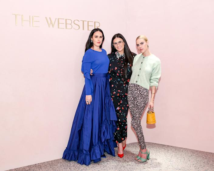"""Demi Moore (center) and daughters Rumer and Tallulah Willis attended the Webster LA's launch party in February. <span class=""""copyright"""">(The Webster LA)</span>"""