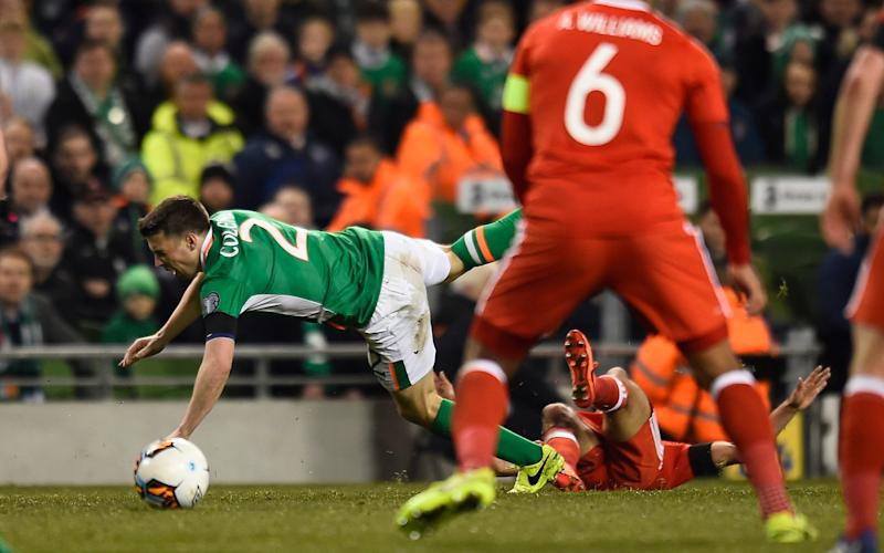 Neil Taylor was shown a straight red for a shocking tackle on Seamus Coleman - Credit: reuters