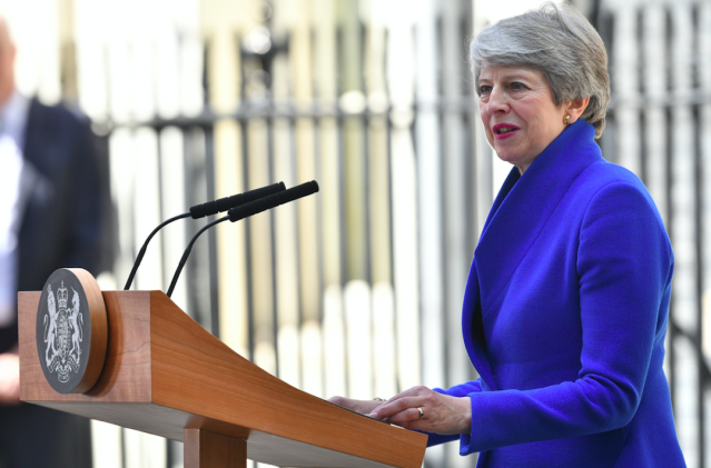 """Pressure on Theresa May refused to go away even after she announced she would step down once Brexit was done. Having <a href=""""https://uk.news.yahoo.com/speaker-john-bercow-rules-another-vote-theresa-mays-brexit-deal-unless-motion-substantially-different-160104010.html"""" data-ylk=""""slk:failed to win a single vote on her deal;outcm:mb_qualified_link;_E:mb_qualified_link;ct:story;"""" class=""""link rapid-noclick-resp yahoo-link""""><strong>failed to win a single vote on her deal</strong></a>, the pressure became too much and she finally announced her intention to quit - paving the way for a certain former London Mayor to take over... (Getty)"""