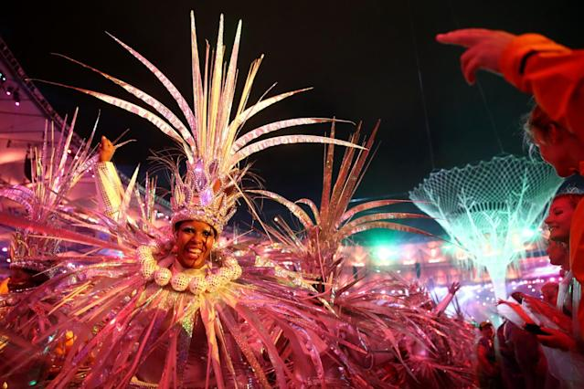 <p>Dancers perform during the Closing Ceremony on Day 16 of the Rio 2016 Olympic Games at Maracana Stadium on August 21, 2016 in Rio de Janeiro, Brazil. (Photo by Cameron Spencer/Getty Images) </p>