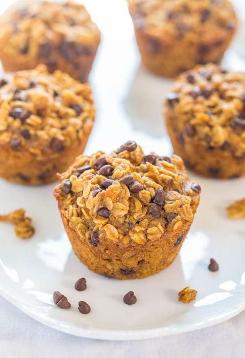 """<p>There's oats in there. It's practically oatmeal.</p><p>Get the recipe from <a rel=""""nofollow"""" href=""""http://www.averiecooks.com/2014/11/oatmeal-to-go-pumpkin-chocolate-chip-muffins.html"""">Sally's Baking Addiction</a>.</p>"""
