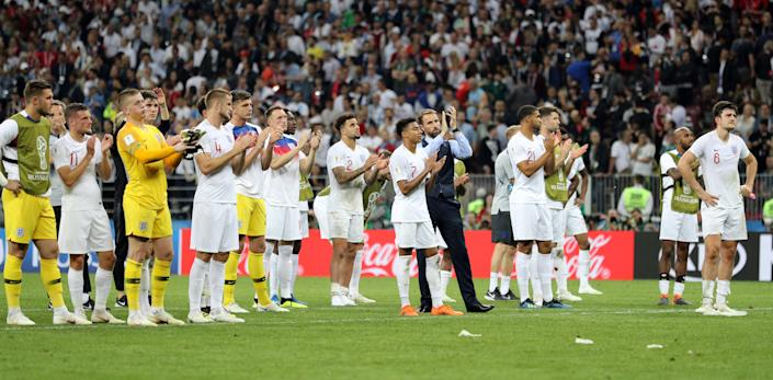 File photo dated 11-07-2018 of England manager Gareth Southgate and players applauding fans after losing against Croatia during the FIFA World Cup, Semi Final match at the Luzhniki Stadium, Moscow. Issue date: Tuesday June 1, 2021.