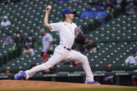 Chicago Cubs starting pitcher Zach Davies delivers during the first inning of the team's baseball game against the Washington Nationals on Tuesday, May 18, 2021, in Chicago. (AP Photo/Charles Rex Arbogast)