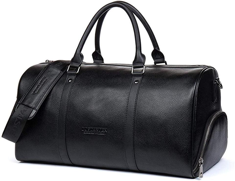 <p>This sleek <span>Genuine Leather Weekender Overnight Duffel Bag</span> ($100) will make his travels easy (and stylish!).</p>