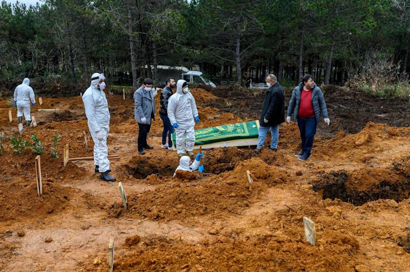 Officers and relatives prepare to bury a person who died from the coronavirus on March 27.