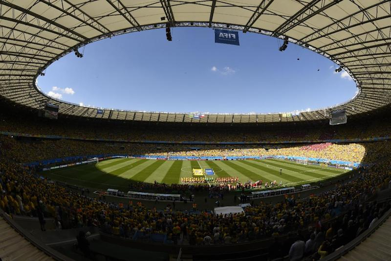 A general view shows The Mineirao Stadium in Belo Horizonte prior to the round of 16 football match between Brazil and Chile during the 2014 FIFA World Cup on June 28, 2014