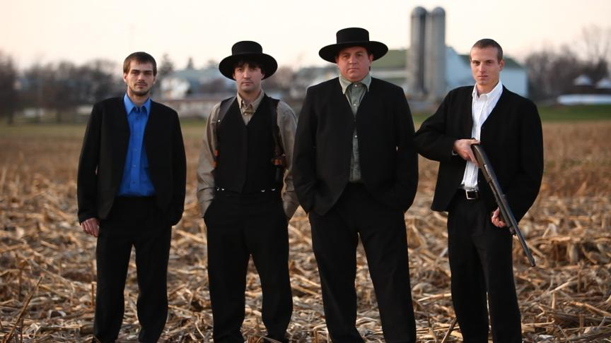 "John, Alvin, Levi, and Jolin in Discovery Channel's ""Amish Mafia."""