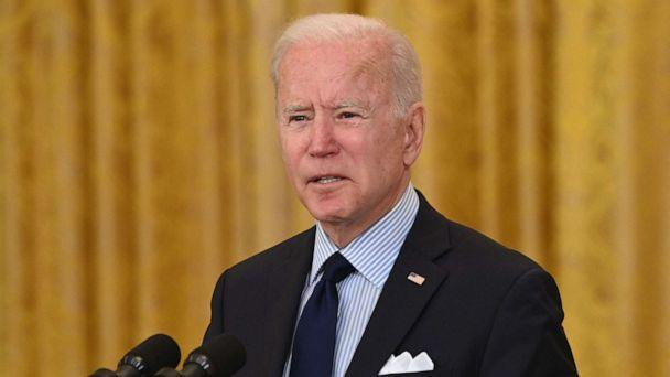 PHOTO: President Joe Biden speaks about the April jobs report in the East Room of the White House in Washington on May 7, 2021. (Saul Loeb/AFP via Getty Images)