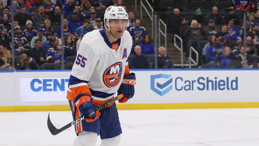 New York Islanders defenseman Johnny Boychuk (55)ref52 skates against the St. Louis Blues during the second period of an NHL hockey game Thursday, Feb. 27, 2020, in St. Louis. (AP Photo/Dilip Vishwanat)