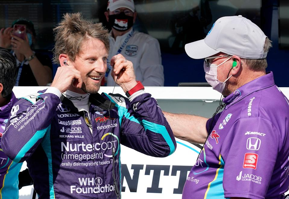 May 14, 2021; Indianapolis, IN, USA; Indy Series driver Romain Grosjean (51) reacts after winning the pole award during qualifying for the GMR Grand Prix at the Indianapolis Motor Speedway.