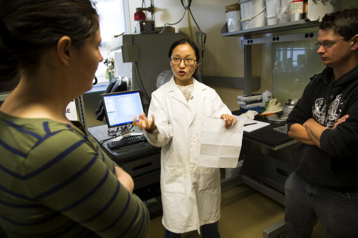 In this Oct. 10, 2013 photo provided by the University of Michigan, Rachel Brooner, left, visiting research investigator; chemical engineering research fellow Xingyi Yang, center, and chemistry research fellow James Suttil discuss results from a battery cell test in the Phoenix Memorial Laboratory, on the University of Michigan campus, in Ann Arbor, Mich. Ford Motor Co. and the University of Michigan are opening a new battery research and manufacturing lab that they hope will speed the development of batteries for electric and hybrid cars. The new lab will be located downstairs from the one shown. (AP Photo/University of Michigan, Joseph Xu)