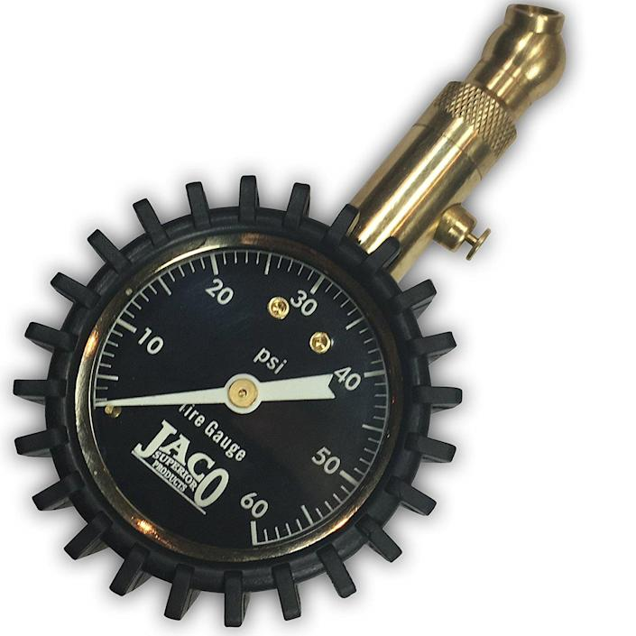 """<p><a rel=""""nofollow noopener"""" href=""""https://www.amazon.com/JACO-Elite-Tire-Pressure-Gauge/dp/B010A6B6KG/?tag=syndication-20"""" target=""""_blank"""" data-ylk=""""slk:BUY NOW"""" class=""""link rapid-noclick-resp"""">BUY NOW</a><br></p><p>If you don't want to lug around a portable compressor, you should at least have a tire pressure measurement gauge in your car. With cold temperatures setting of TPMS sensors this season, it's good to know if that flashing light is a non-issue, or something you need to worry about. </p>"""