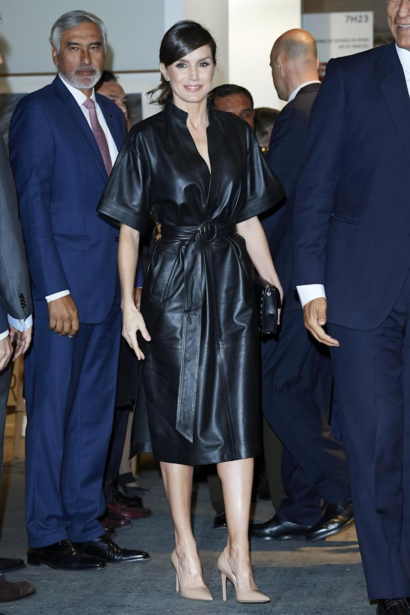 Queen Letizia wearing a leather dress from & Other Stories (Getty Images)