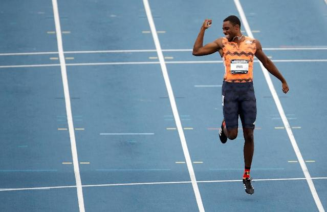 Noah Lyles celebrates after winning the 100m Final on day 2 of the 2018 USATF Outdoor Championships, at Drake Stadium in Des Moines, Iowa, on June 22 (AFP Photo/ANDY LYONS)