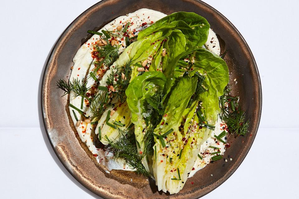 """<h1 class=""""title"""">Little Gem Wedge Salad with Tahini Ranch</h1> <div class=""""caption""""> <a href=""""https://www.epicurious.com/recipes/food/views/little-gem-wedge-salad-with-tahini-ranch?mbid=synd_yahoo_rss"""" rel=""""nofollow noopener"""" target=""""_blank"""" data-ylk=""""slk:Little Gem Wedge Salad With Tahini Ranch"""" class=""""link rapid-noclick-resp"""">Little Gem Wedge Salad With Tahini Ranch</a> </div> <cite class=""""credit"""">Photo by Stephen Kent Johnson, Prop Styling by Kalen Kaminski, Food Styling by Rebecca Jurkevich</cite>"""