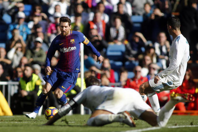"Lionel Messi created Barcelona's third goal with a pass to <a class=""link rapid-noclick-resp"" href=""/soccer/players/aleix-vidal/"" data-ylk=""slk:Aleix Vidal"">Aleix Vidal</a>. (Getty)"