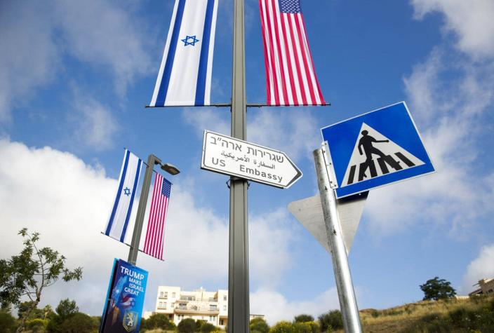 """<span class=""""caption"""">President Trump's evangelical supporters cheered the 2018 move of of the U.S. Embassy in Israel from Tel Aviv to Jerusalem.</span> <span class=""""attribution""""><a class=""""link rapid-noclick-resp"""" href=""""https://newsroom.ap.org/detail/MideastUSEmbassyToJerusalem/b6ce96595ae2499cbbc86872bc51ffdf"""" rel=""""nofollow noopener"""" target=""""_blank"""" data-ylk=""""slk:Ariel Schalit/AP"""">Ariel Schalit/AP</a></span>"""